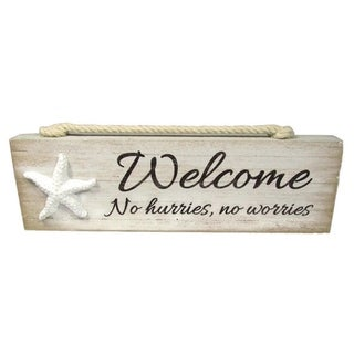 """Welcom To The Beach Block Wood Sign 7 1/2"""" x 2 1/4"""" x 1"""" - Brown"""