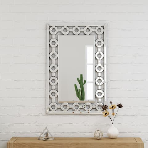 """Ballivian Modern Glam Wall Mirror 36"""" by 24"""" Rectangular by Christopher Knight Home - Silver - N/A"""