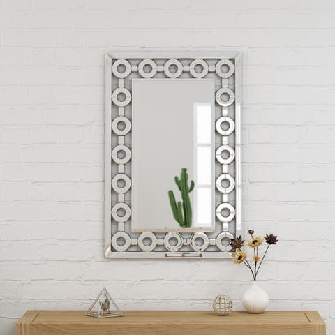 "Ballivian Modern Glam Wall Mirror 36"" by 24"" Rectangular by Christopher Knight Home - Silver"
