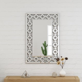 """Ballivian Modern Glam Wall Mirror 36"""" by 24"""" Rectangular by Christopher Knight Home - Silver"""