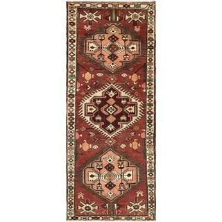 Hand Knotted Bakhtiar Semi Antique Wool Runner Rug - 3' 4 x 9'
