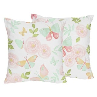Sweet Jojo Designs Blush Pink Mint Watercolor Rose Butterfly Floral 18-inch Decorative Accent Throw Pillows (Set of 2)