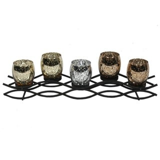 Endearing 5 Glass Cup Metal Candle Holder
