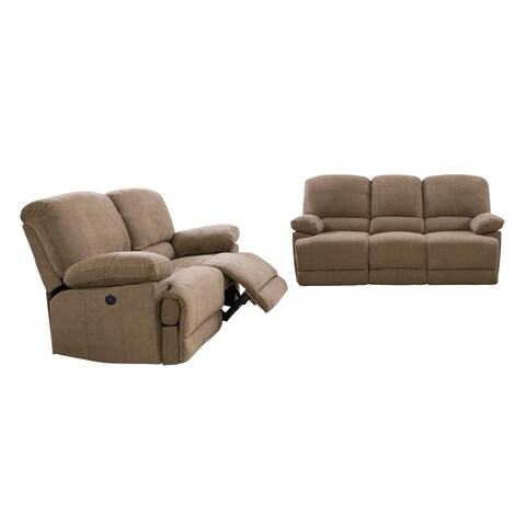 Chenille Fabric Power Recliner 2pc Sofa and Chair Set
