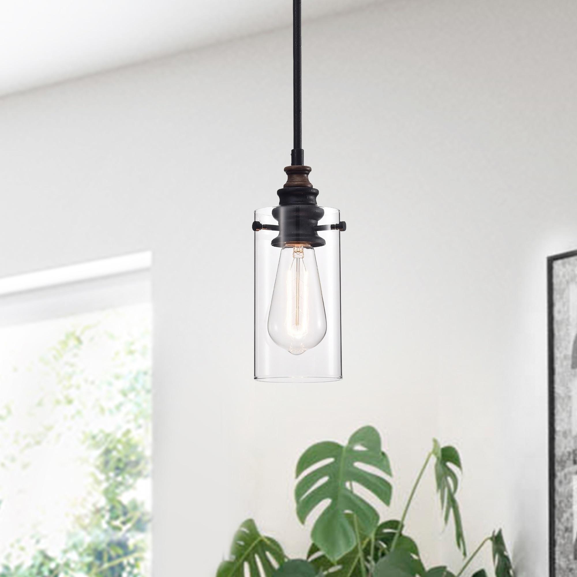 Shop Black Friday Deals On Tedosha 1 Light Black Pendant Lamp With Glass Cylinder Shade Includes Edison Bulb Overstock 23068197