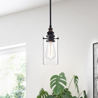 Link to Tedosha 1-light Black Pendant Lamp with Glass Cylinder Shade (includes Edison Bulb) Similar Items in Pendant Lights