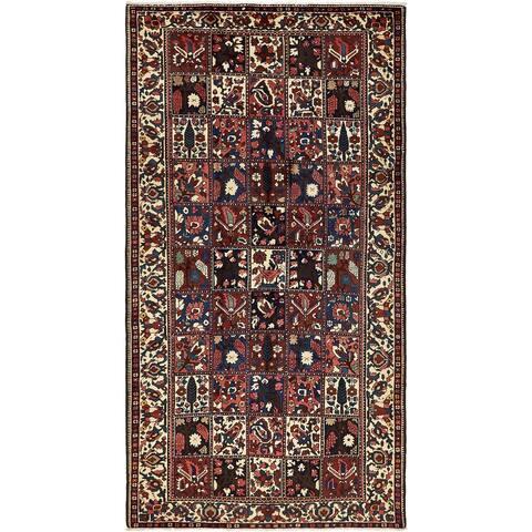 Hand Knotted Bakhtiar Semi Antique Wool Runner Rug - 5' 7 x 10' 4