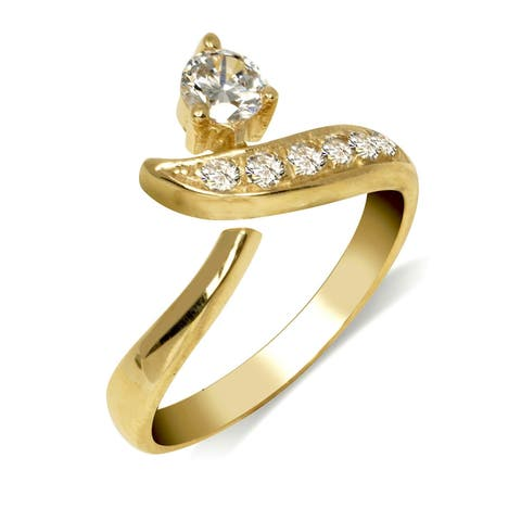 Curata Solid 10K Yellow or White Gold Adjustable Modern Bypass Cubic Zirconia Toe Ring (8mmx15mm)