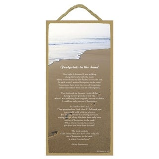 """Decorative Wooden Signs Footprints in the Sand 5""""x10"""" - Brown"""