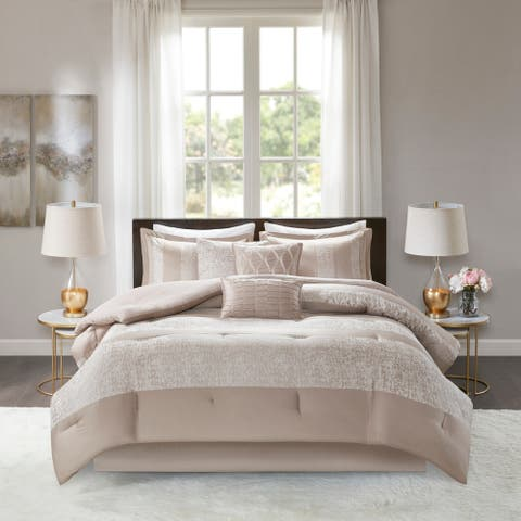 Madison Park Elicia Taupe 7 Piece Chenille Jacquard Comforter Set