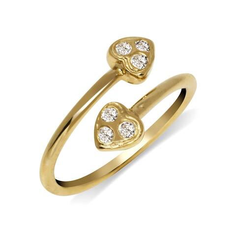 Curata Solid 10K Yellow or White Gold Small Heart Bypass Adjustable Cubic Zirconia Toe Ring (10mmx15mm)
