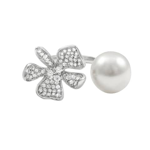 Luxiro Sterling Silver Faux Pearl Cubic Zirconia Adjustable Flower Ring