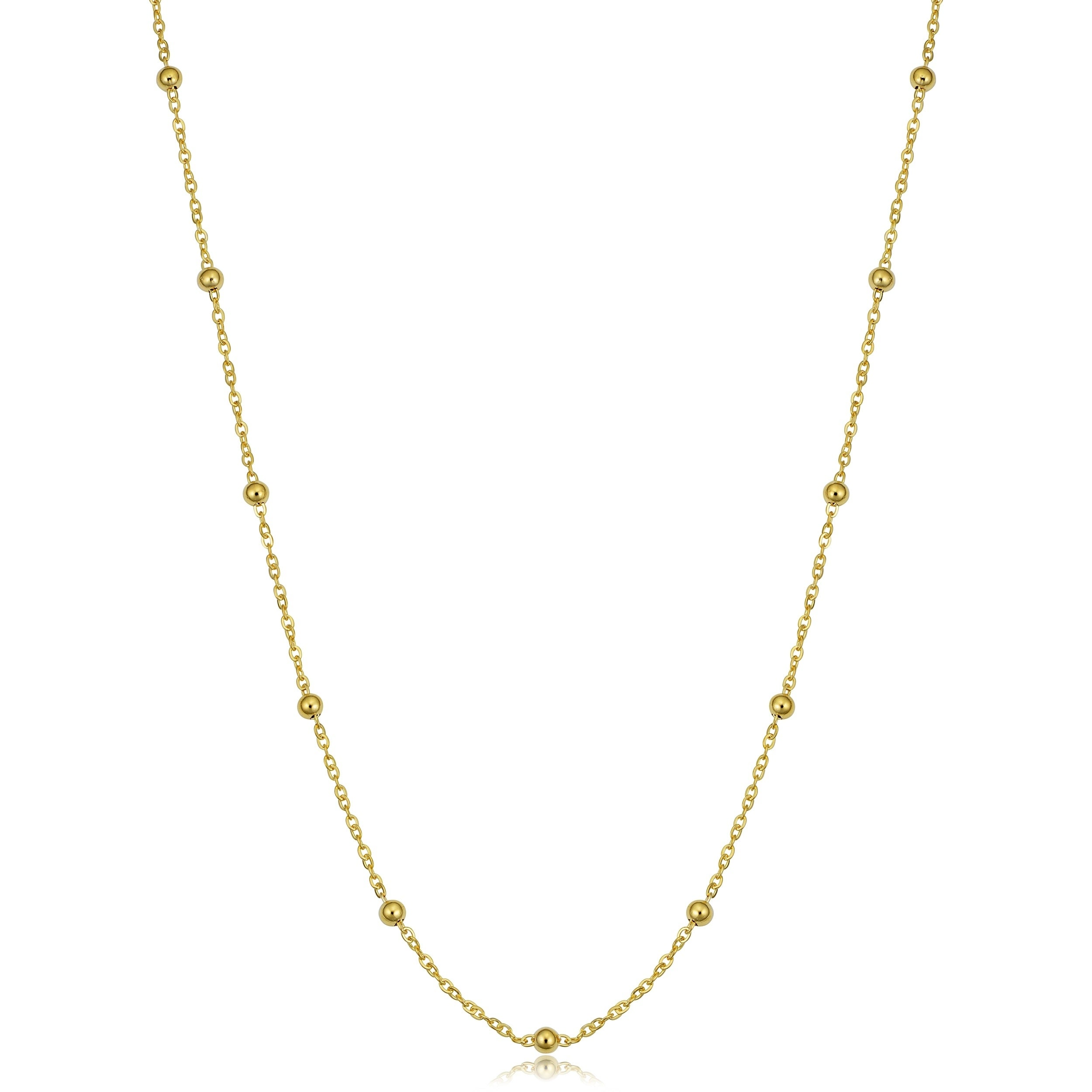Shop 14k Yellow Gold Italian Beads Station Necklace On Sale Overstock 23069066