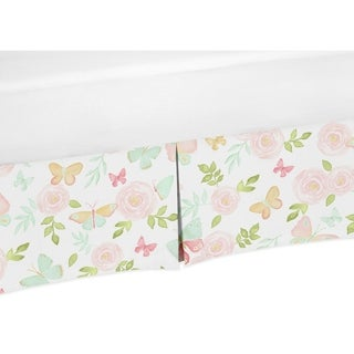 Sweet Jojo Designs Blush Pink, Mint and White Watercolor Rose Butterfly Floral Girl Collection Crib Bed Skirt