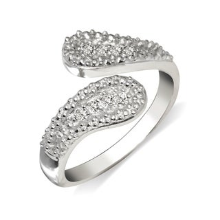 Curata Solid 925 Sterling Silver Elegant Beaded Bypass Adjustable Cubic Zirconia Toe Ring (14mmx15mm) - N/A