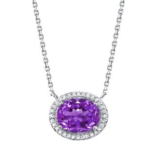SERAFINA Amethyst and Lab Created White Sapphires Sterling Silver Necklace