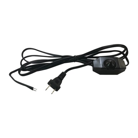 Royal Designs 8 Foot Long Black Inline Rotary Dimmer Replacement Lamp Cord, SPT-1 with Molded Plug