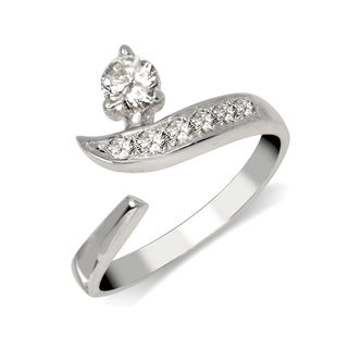 Curata Solid 925 Sterling Silver Adjustable Modern Bypass Cubic Zirconia Toe Ring (8mmx15mm) - N/A