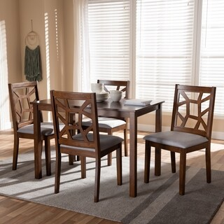 Mid-Century Walnut and Grey Fabric 5-Piece Dining Set by Baxton Studio
