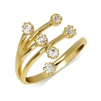 Curata Solid 10K Yellow or White Gold Elegant Waterfall Adjustable Cubic Zirconia Toe Ring (12mmx15mm)