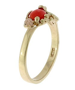 Black Hills Gold and Oxblood Coral Ring - Thumbnail 1