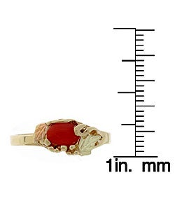 Black Hills Gold and Oxblood Coral Ring - Thumbnail 2