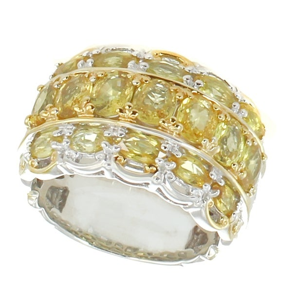 Michael Valitutti Palladium Silver Yellow Sapphire 3-Row Wide Band Ring