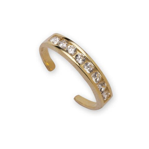Curata Solid 10K Yellow or White Gold Adjustable Channel-set Cubic Zirconia Toe Ring (3mmx15mm)
