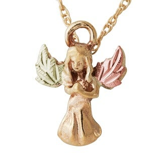 Black Hills 10k Yellow Gold Guardian Angel Pendant Necklace