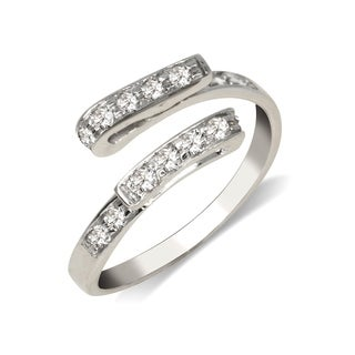 Curata Solid 925 Sterling Silver Elegant Adjustable Cubic Zirconia fold-over Toe Ring (7mmx15mm) - N/A