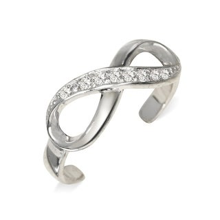 Curata Solid 925 Sterling Silver Adjustable Infinity Ribbon Cubic Zirconia Toe Ring (6mmx15mm) - N/A