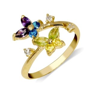 Curata Solid 10K Yellow or White Gold Butterfly Adjustable Multi-color Cubic Zirconia Toe Ring (12mmx15mm)