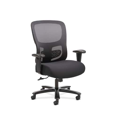 Sadie Big and Tall Office Computer Chair, Height Adjustable Arms with Adjustable Lumbar, Black (BSXVST141)