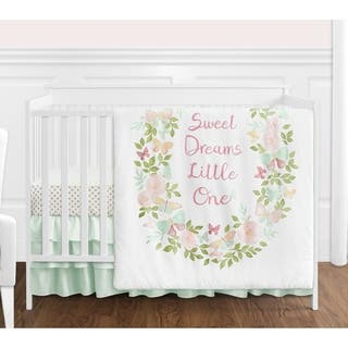 Sweet Jojo Designs Blush Pink, Mint and White Shabby Chic Butterfly Floral Collection Girl 4-piece Crib Bedding Set