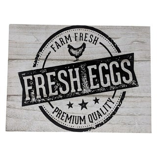 "Farmhouse Distressed Country Wood Sign Farm Fresh Eggs 16"" x 12"" x 1"" - Black"