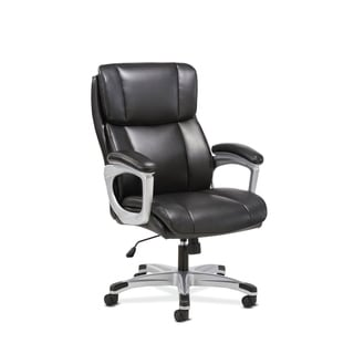 Sadie Executive Computer Chair- Fixed Arms for Office Desk, Black Leather (BSXVST315)