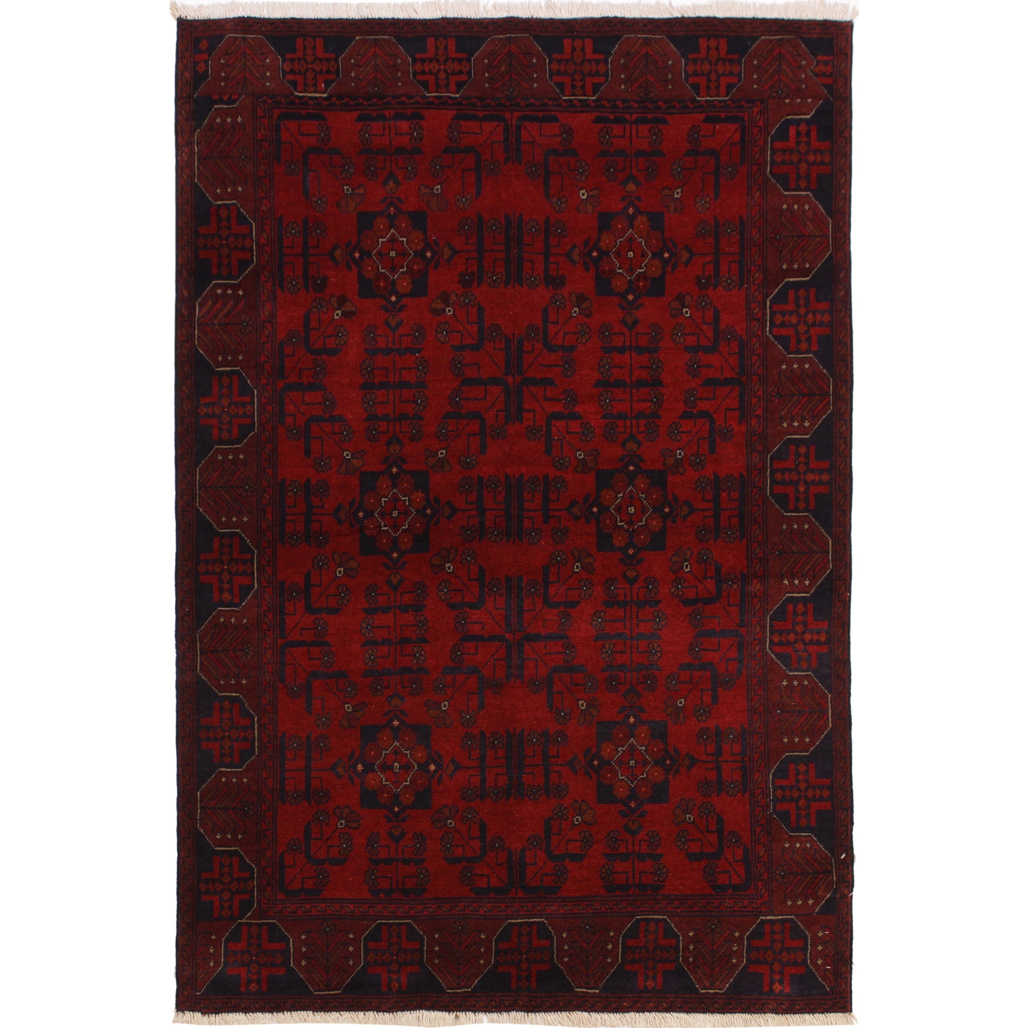 Khal I Bertie Drk Red Black Wool Rug 4 3 X 6 Ft In