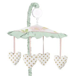 Sweet Jojo Designs Blush Pink, Mint, Gold and White Watercolor Rose Butterfly Floral Collection Musical Crib Mobile