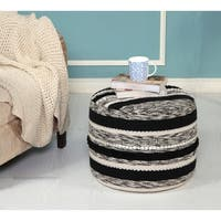LR Home Bubble Black/Natural/Silver Cotton Pouf Ottoman