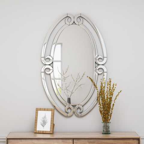 """Kaylana Modern Glam Wall Mirror 36.75"""" by 23.5"""" Oval by Christopher Knight Home - Silver - N/A"""