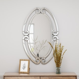 Kaylana Modern Glam Oval Wall Mirror by Christopher Knight Home - Silver
