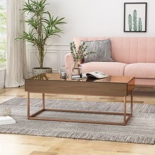 Tallowa Modern Glam Mirrored Coffee Table with Electroplated Frame by Christopher Knight Home