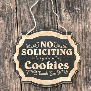 """Decorative Wooden Signs No Solicting unless selling 8""""x9.5x 1/4 thick - Black"""