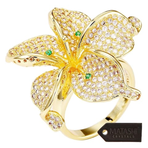 Women's Gold-Plated Flower Trendy Fashion Ring Cubic Zirconium by Matashi Size 7