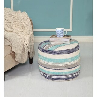 "LR Home Modern Slub Stripe Blue Cotton Pouf Ottoman (18"" x 14"")"