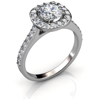 White Gold Plated Ring With Eye Catching Solitaire Design With 1 Large And 30 Smaller Crystals By Matashi