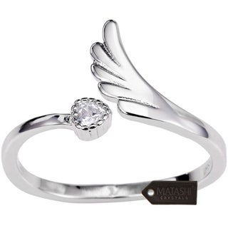 Rhodium Plated Wrap Ring With Wing Beautiful CZ Stone Size 6 By Matashi