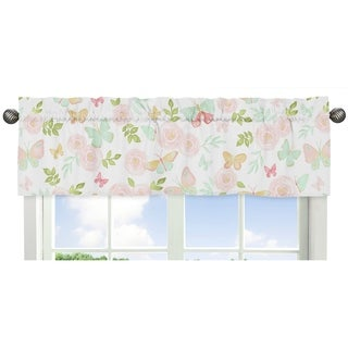 Sweet Jojo Designs Blush Pink, Mint and White Watercolor Rose Butterfly Floral Collection Window Curtain Valance