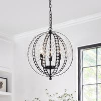 Flamtee 3-light Matte Black Globe Chandelier