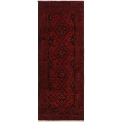 Khal Muhammadi Aurora Drk. Red/Black Wool Rug (2'8 x 6'4) - 2 ft. 8 in. x 6 ft. 4 in. - 2 ft. 8 in. x 6 ft. 4 in.